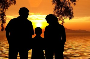 family with beach background