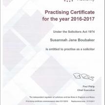 Susannah Practising Certificate 16/17